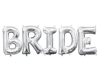 BRIDE Balloons Silver BRIDE Balloon Bride Banner Wedding Decorations Bride Balloon Silver Bridal Shower Balloons Bachelorette Bride Silver