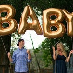 "Giant BABY Balloons -34"" Gold, Silver or Rose Gold Balloons - Baby Shower Balloons"
