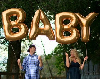"Giant BABY Balloons -40"", 16"" Gold Silver Balloon, Gold Baby balloons, Baby Gold Balloons, Large Baby balloons, Big Baby, Baby Shower"