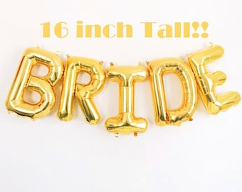 "BRIDE Balloons, Gold 16"" Letter Balloons, Bride Banner, Wedding Decorations, Bride Balloon Letters, Bridal Shower Balloons"