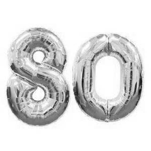 Giant 40 Inch 80 Balloon Number Silver Birthday Party