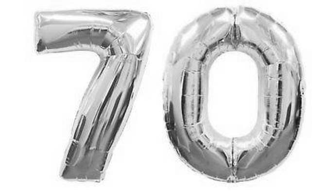 Silver 70 Balloon 70th Birthday Number Balloons