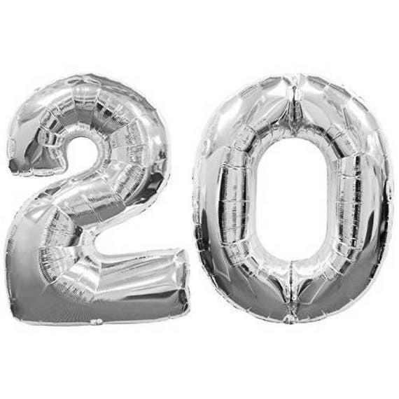 Giant 40 Inch 20 Balloon Number Silver Birthday