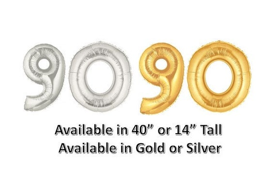 90 Balloon Number Gold Or Silver 40 14 Tall