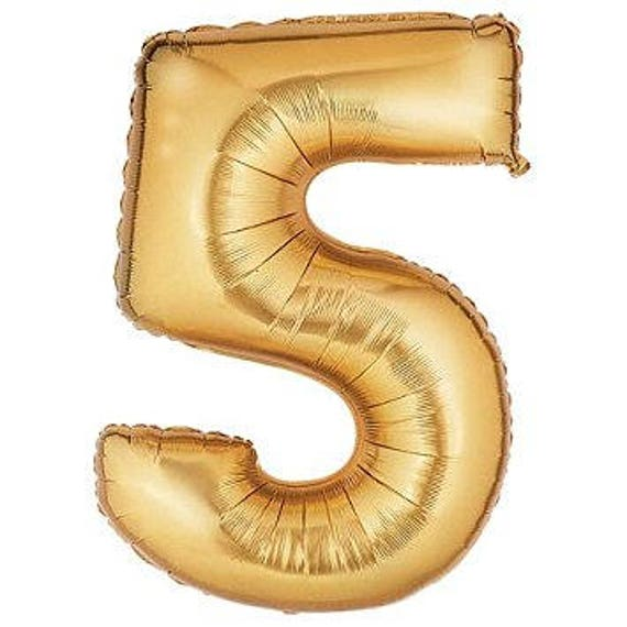40 Number 5 Gold Mylar Balloon FIVE