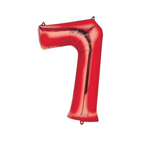 40 Number 7 RED Mylar Balloon
