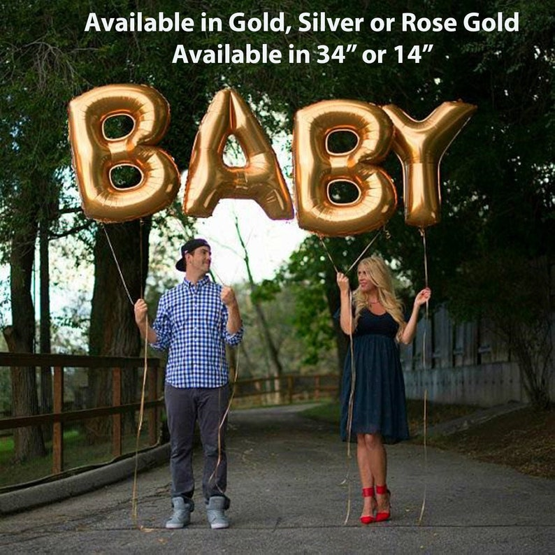Giant BABY Balloons 34 Gold Silver or Rose Gold image 0