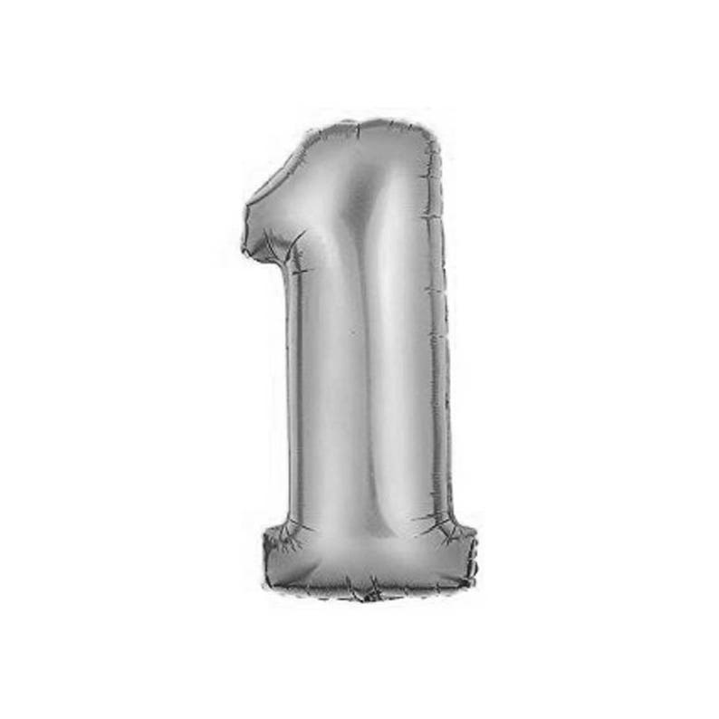 34 Number 1 Silver Mylar Balloon Number 1 Balloon- ONE Balloon FIRST Birthday Decor- First Birthday Photo Prop 1st Birthday Decor