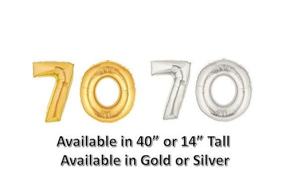 70 Balloon Number Gold Or Silver 40 14 High