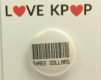 BTS Three Dollars Barcode badge BTS Accessories bts Merchandise ARMY Cute Kawaii Suga Jungkook V Taehyung Jimin Yoongi Rapmonster