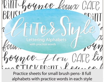 Letter Style: Lettering Alphabets with Practice Words, Brush Lettering Practice Sheets, Modern Calligraphy, Hand Lettering