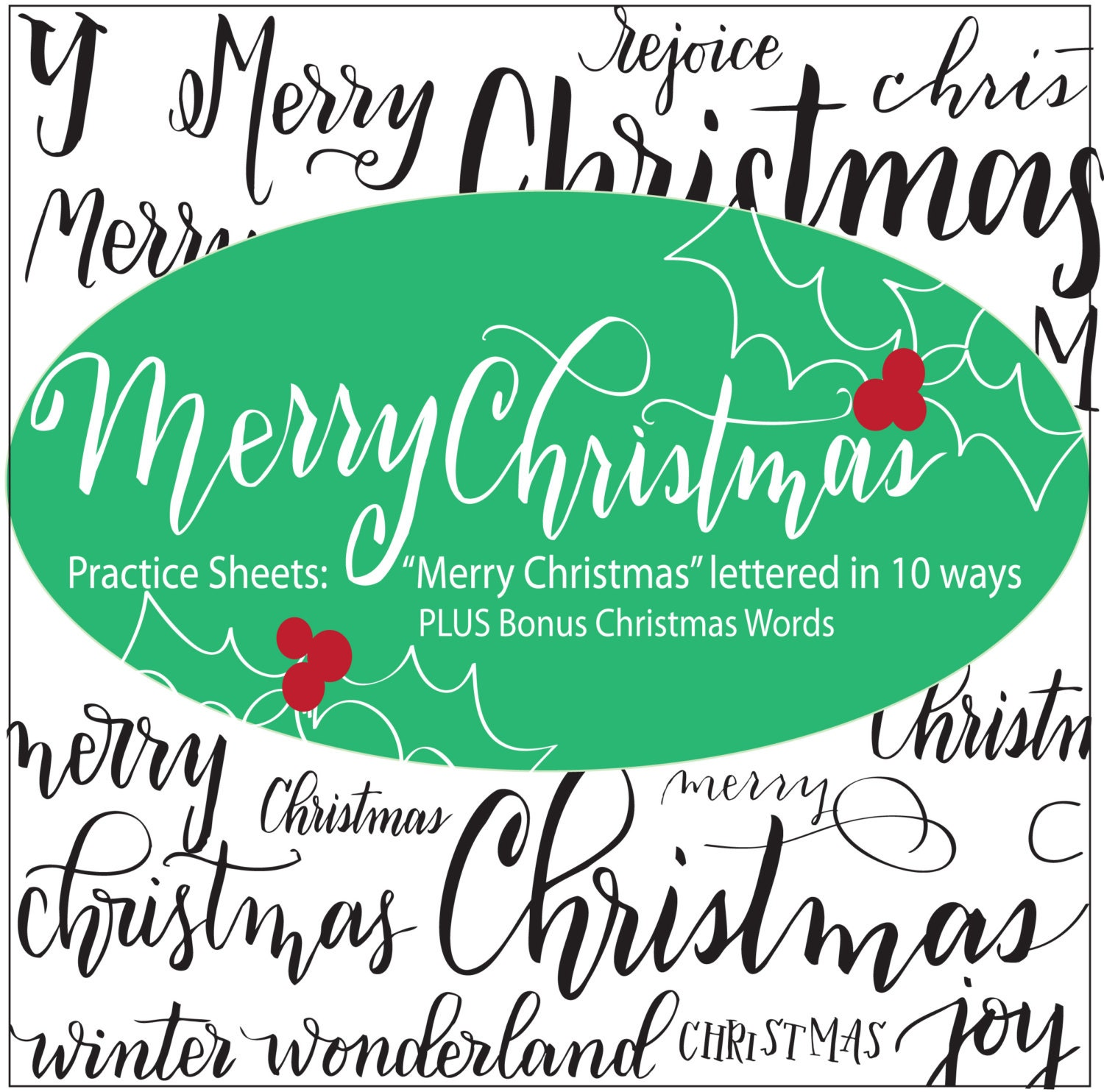 Merry Christmas Brush Lettering Practice Sheets for Small | Etsy