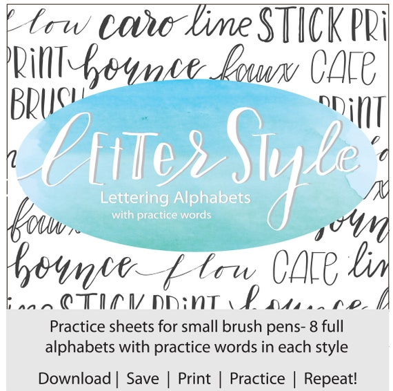 letter style lettering alphabets with practice words brush