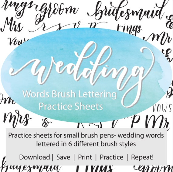 Wedding Words Brush Lettering Practice Sheets Hand Lettering