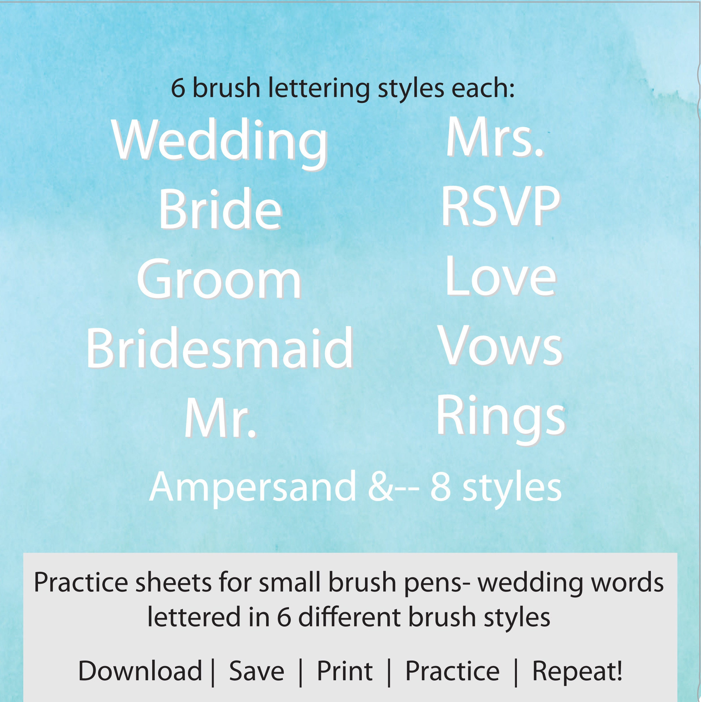 Wedding Words Brush Lettering Practice Sheets Hand Lettering Sheets