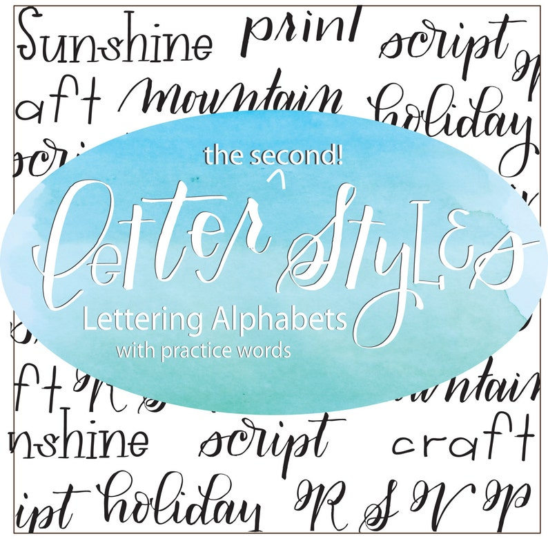 Letter Styles 2: More Lettering Alphabets with Practice Words, Brush  Lettering Practice Sheets, Modern Calligraphy, Hand Lettering Practice