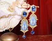 Baroque Blue Vase Tile Print Cameo Studs Earrings