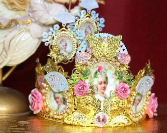 Set Of Rococo Marie Antoinette Crown Cameo Hand Painted  Fan Headband Crown