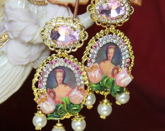 Madame Bovary Victorian Massive Tulips Pearl Cameo  Studs Earrings