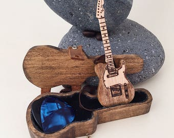 Electric Guitar With Case Pick Holder Anniversary Gifts For Husband Gift Musicians Music Lovers Birthday Men