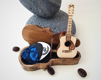 acoustic guitar 3 guitar pick holder christmas gifts for boyfriend gift for music lover music instrument gifts for men personalized for him