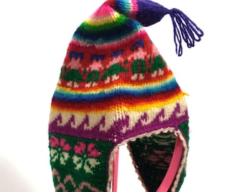 Vtg Children s Nordic Knit Wool Ear Flap Hat 125f290fbf17