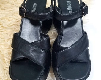 7360828659c Vtg 90s Chunky Bongo Black Wedge Platform Sandals