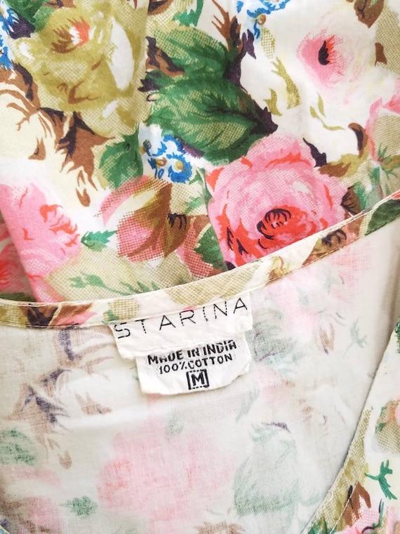 Vtg Starina Floral Drop Waist Midi Dress, 80s Twi… - image 10