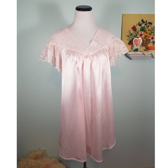 Satin /& Lace Short Sleep Top Vtg Shell Pink Lily of France Baby Doll Nightie Size Small