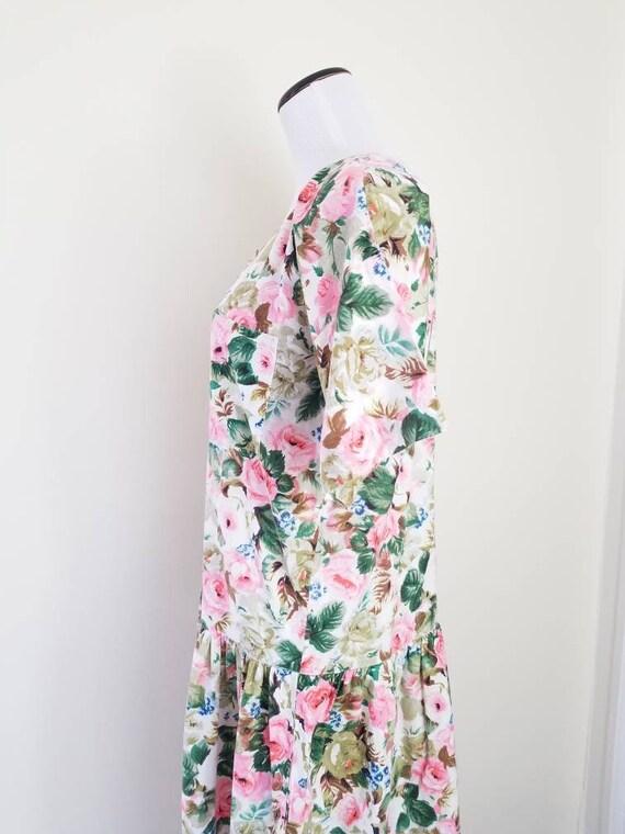 Vtg Starina Floral Drop Waist Midi Dress, 80s Twi… - image 8