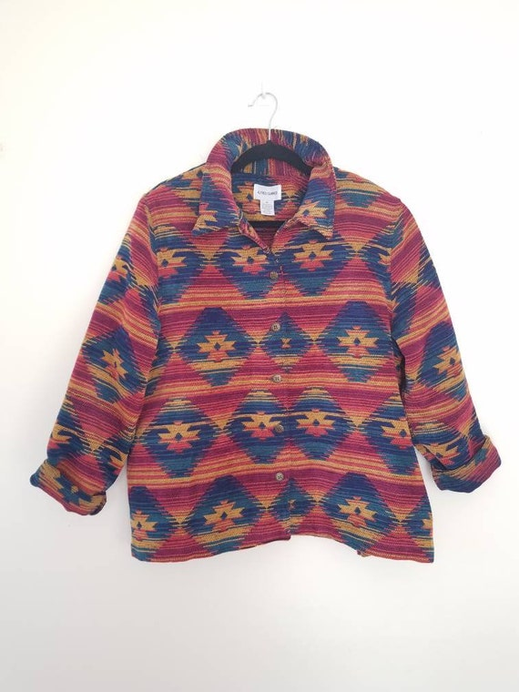 Vtg Rainbow 90s South Western Pattern Chenille Jac