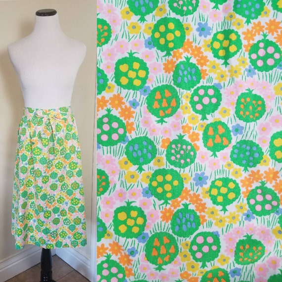 60s Midi Wrap Skirt/Apron Fruit Tree Novelty Print