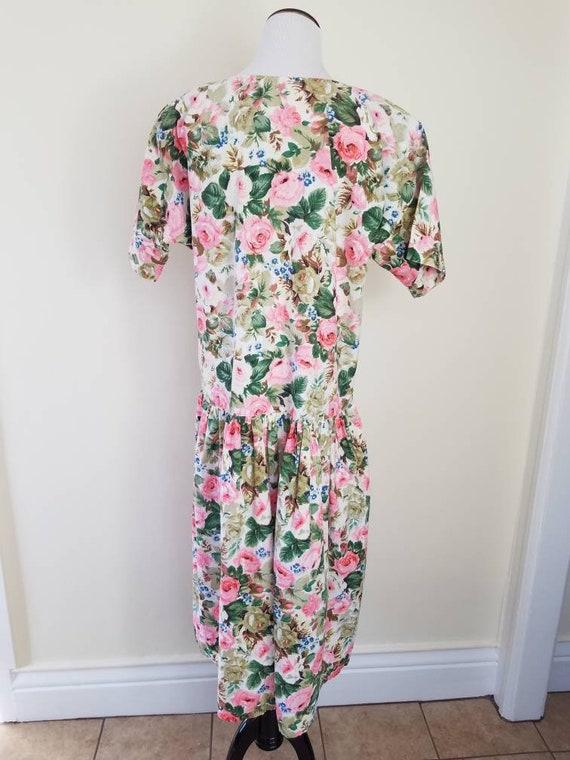 Vtg Starina Floral Drop Waist Midi Dress, 80s Twi… - image 6
