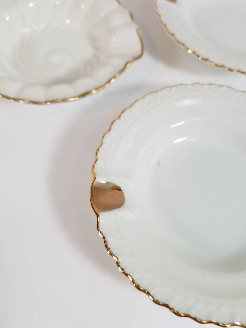 Vtg Empress Japan Porcelain Ashtray Dish Set White /& Gold Porcelain Dining Dinner Ash Dishes