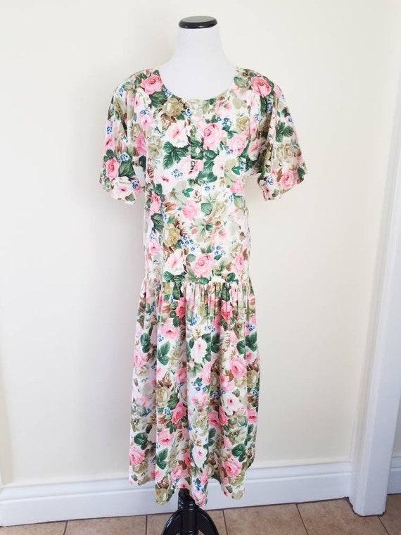 Vtg Starina Floral Drop Waist Midi Dress, 80s Twi… - image 2