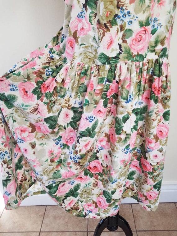 Vtg Starina Floral Drop Waist Midi Dress, 80s Twi… - image 4