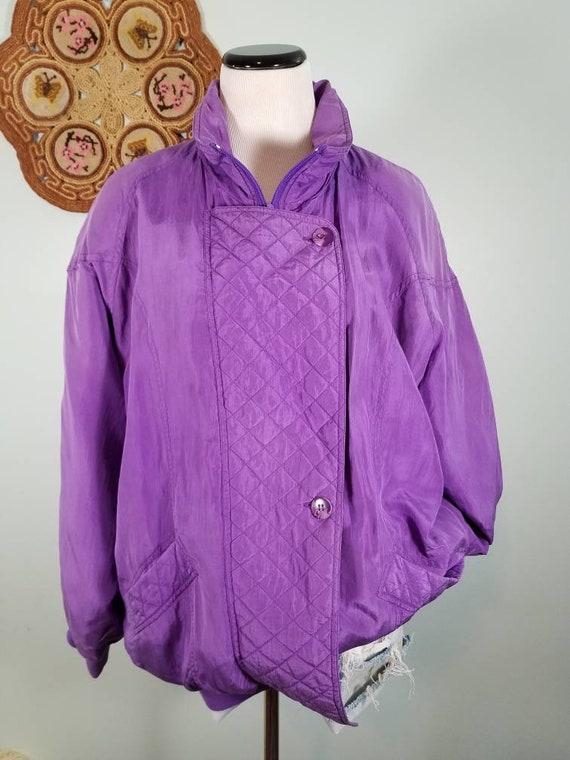 Vtg 80s Purple Silk Bomber Jacket, Oversized Vinta