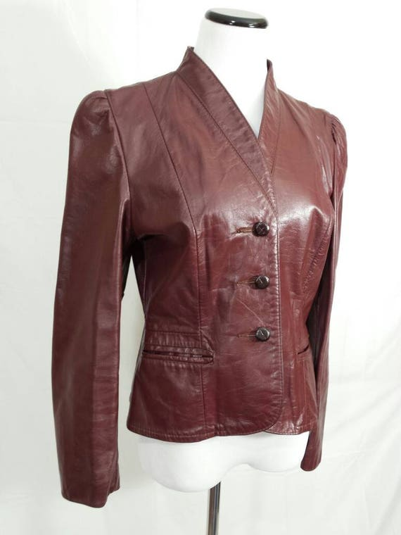 Vtg Burgundy Brown Slim Fit Leather Jacket, 'Garfin' Tailored Leather Button Down Jacket, Womens Leather Coat, Lined, Size Small Med 68