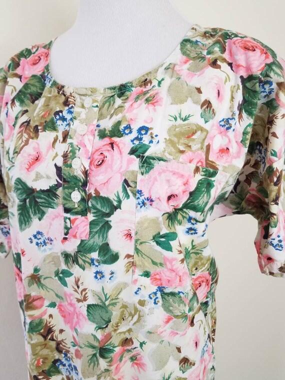 Vtg Starina Floral Drop Waist Midi Dress, 80s Twi… - image 3
