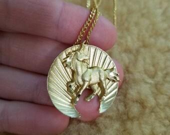 80s Gold Tone Unicorn Charm Necklace, Sunburst Unicorn Necklace, Vtg Unicorn Jewelry