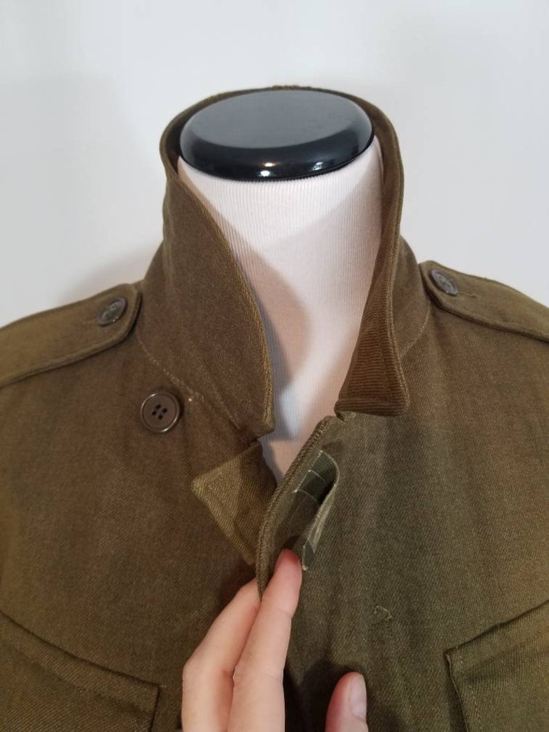 Small  Extra Small Vintage 1950s Cropped Tailored Ike WW2 Military Jacket US Army Issue Eisenhower Coat