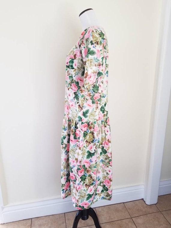 Vtg Starina Floral Drop Waist Midi Dress, 80s Twi… - image 9