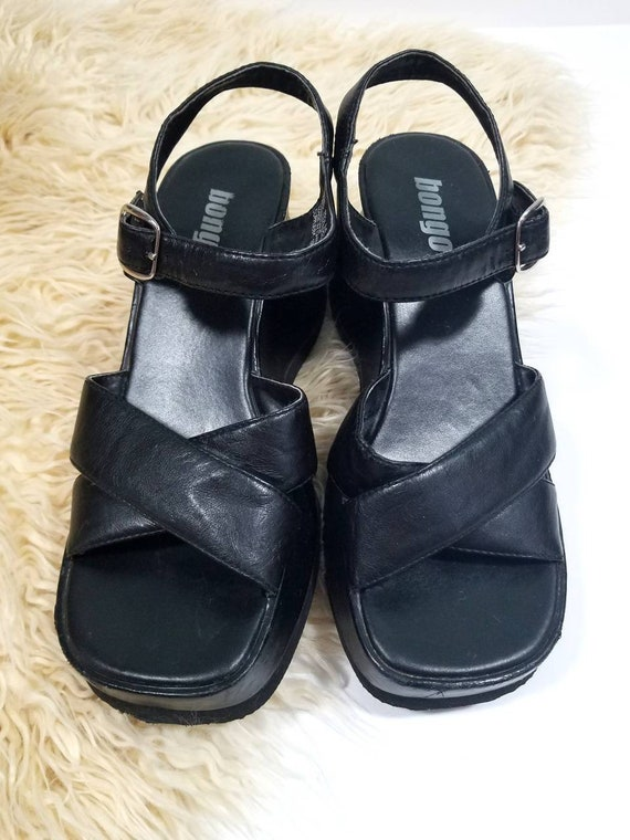 06f9f0a466e2 Vtg 90s Chunky Bongo Black Wedge Platform Sandals Vegan