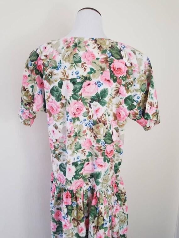 Vtg Starina Floral Drop Waist Midi Dress, 80s Twi… - image 7