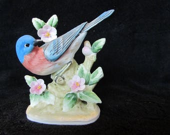 Vintage Hand Painted Blue Bird Figurine Lefton China KW464