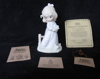 Vintage Precious Moments Figurine - pm 12068, The Voice Of Spring and Certificate of Authenticity