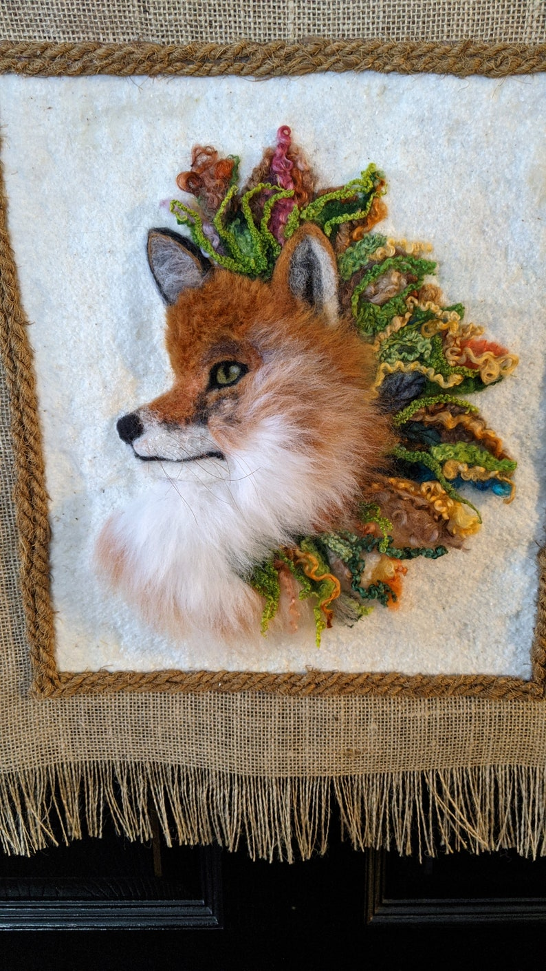 2D Needled Felted Wool Wall Hanging of a Fox With Flowers on Natural Cotton Batting and Burlap