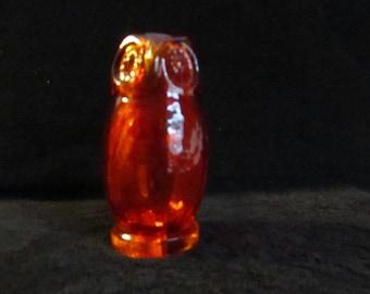 Vintage Orange Amberina Glass Owl