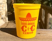 Personalized Fiesta Cup, Stadium, Plastic, 16 oz, Monogrammed, Custom, Sombrero, Cinco de Mayo, Day of the Dead, Cocktail Cups, Hostess Gift
