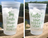 Personalized Stadium Cups, 32 oz, Monogrammed, Custom, Bachelorette Cups, Fiesta Siesta Repeat, Shower Cups, Party Cups, Girls Weekend